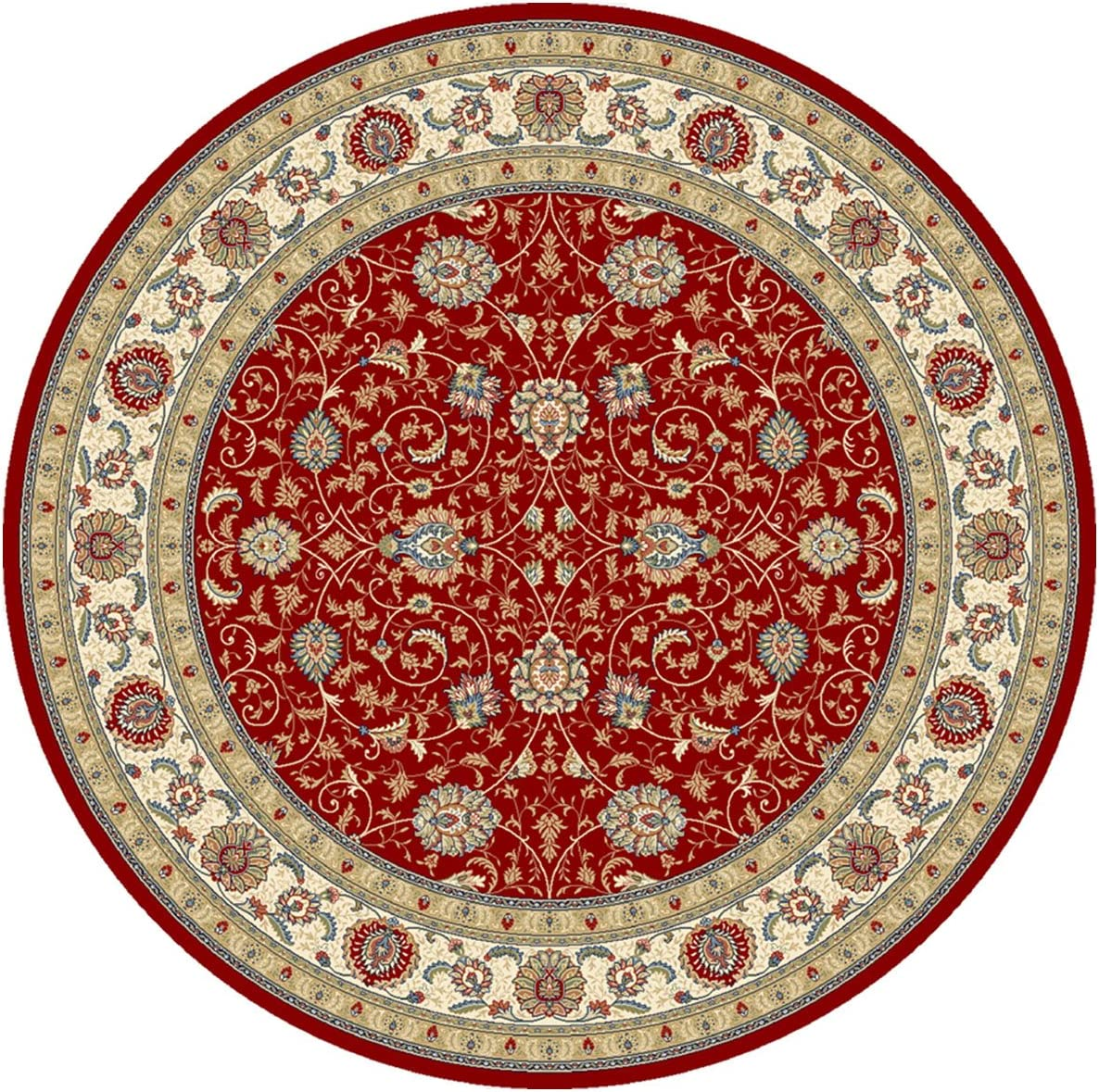"""Dynamic Rugs Ancient Garden 57120-1464 Round Rug, 7'10"""", Red/Ivory"""