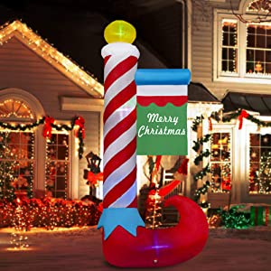 SEASONJOY 8Ft Christmas Inflatables Candy Cane Decorations, Outdoor Christmas Inflatable with Built-in Color Changing Lights, Christmas Blow up Decor for Yard Lawn Garden