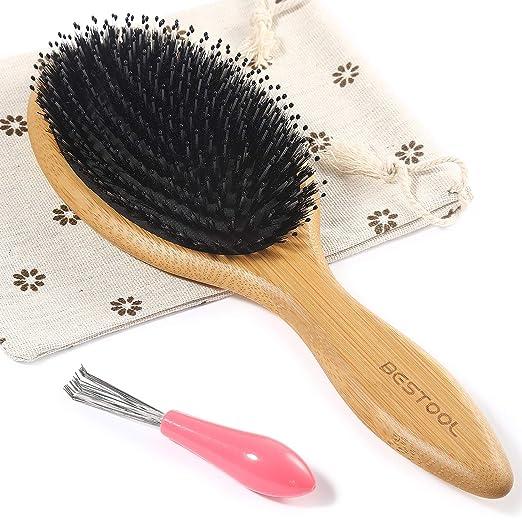 BESTOOL Hair Brush-Boar Bristle Hair Brush With Nylon Pins, Bamboo Paddle Detangler Brush, Detangling Adding Shine Brushes for Women Mens and Kids, Daily Use for Conditioning/Improve Hair Texture