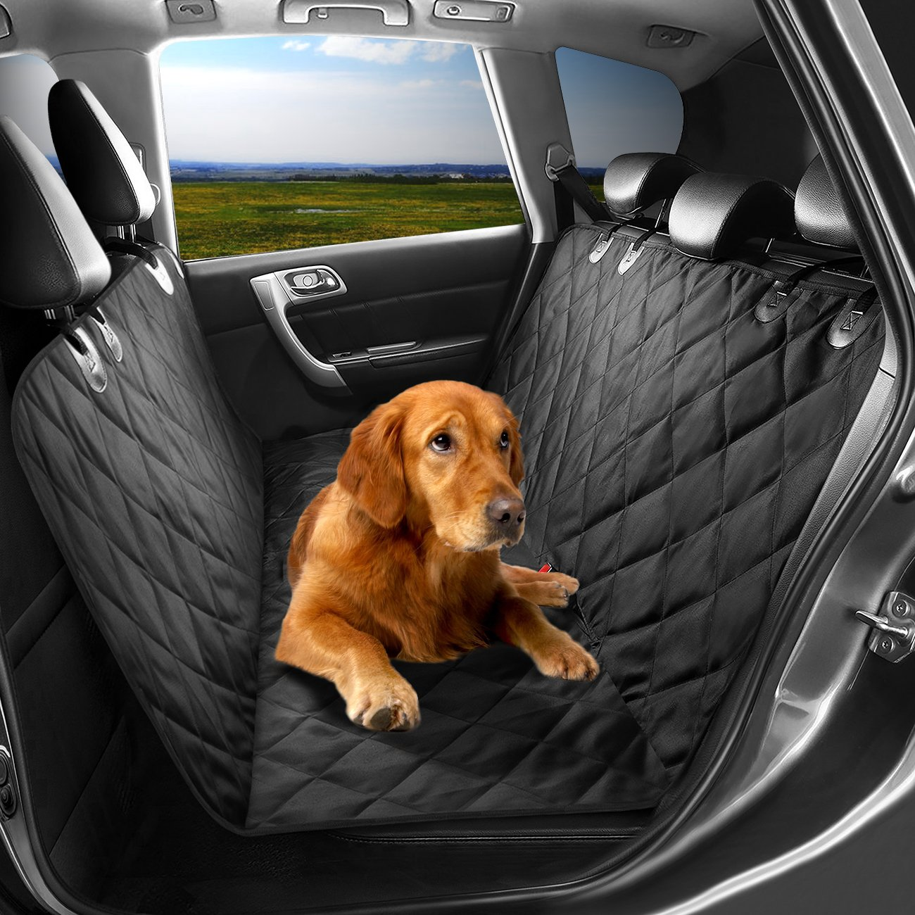 APlus+ My You and ME Pet Seat Cover, Dog Hammock, Waterproof Dog Car Seat Cover Protector with Non Slip Silicone Backing for Cars, Trucks, SUVs with Non Slip Backing, Soft, Large, Black