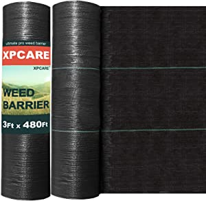 XPCARE Premium 5oz Pro Weed Barrier Landscape Fabric Ground Cover Heavy Duty Commercial Dual Layer Fabric Anti-Weed Gardening Mat (3Ftx480Ft)
