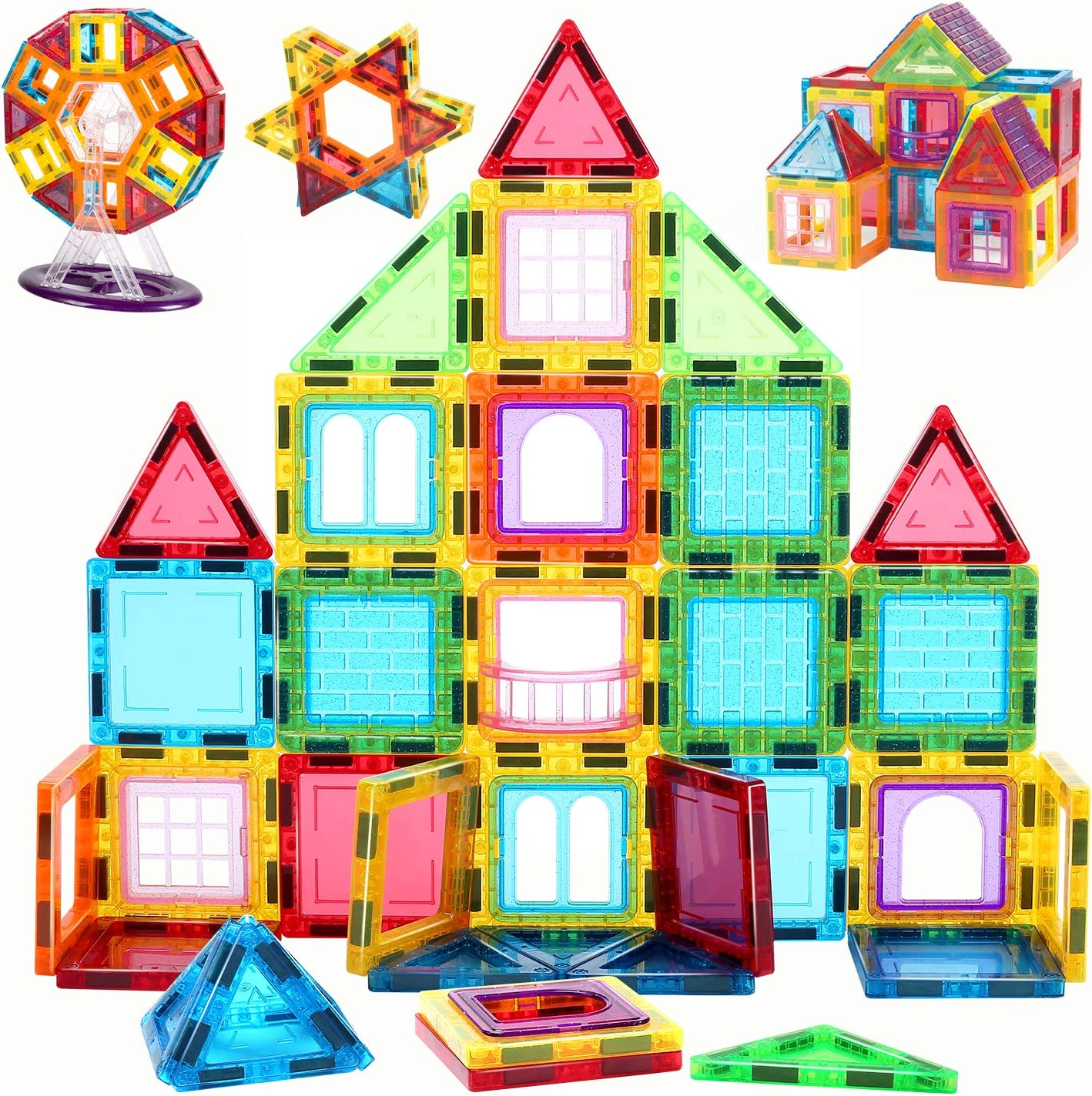 CUTE STONE Kids Magnet Toys, Magnet Building Tiles,3D Magnetic Building Blocks Set for Toddlers Children Magnetic Educational Toys 70 Pieces