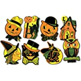 HALLOWEEN Decorations Die Cut Cutouts Vintage Styled Beistle Reproduction Orange, Black, Yellow & Green (8 piece)
