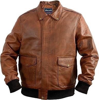 Men A-2 Aviator Flight Bomber Distressed Chocolate Brown Genuine Leather Jacket
