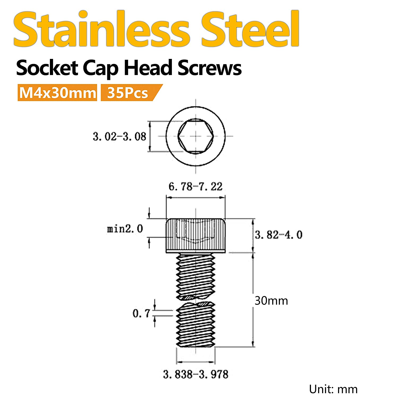 Fully Threaded Hex Cap Head Bolts 100Pcs M4 x 6mm Socket Cap Head Screws Stainless Steel Machine Screw Metric Socket Bolt with Allen Drive