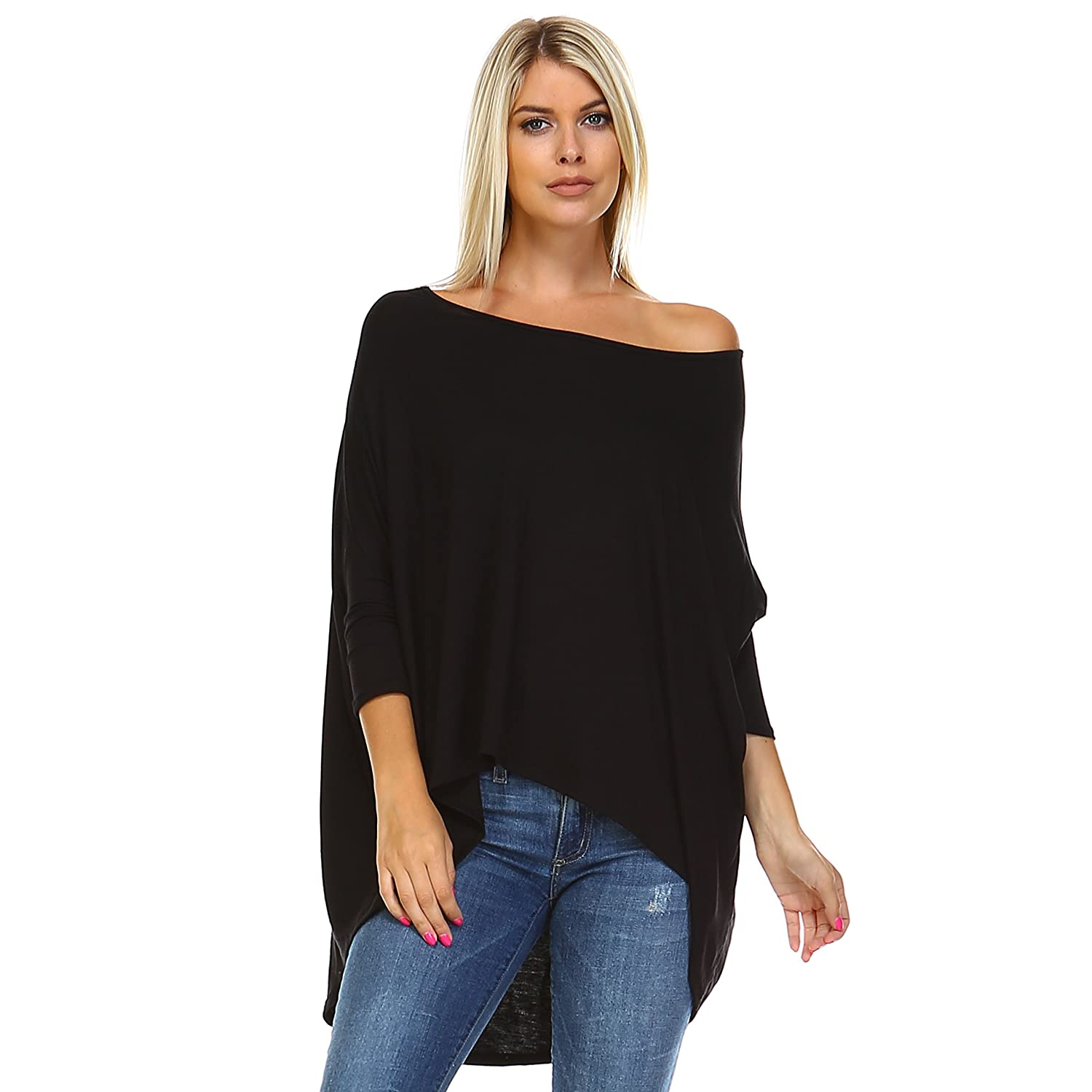 7d8af982324 GET THAT IRRESISTIBLE FEMININE LOOK: Perfect for everyday wear, this  fashionable, oversized batwing blouse top with asymmetrical hemline and off  shoulder ...