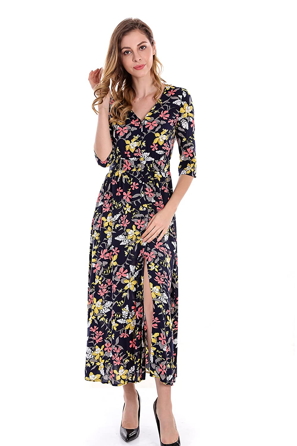 d62ae4db53809 Apperloth Women's 3/4 Sleeve Button up High Split Floral Print Bohemian  Flowy Party Maxi Dress at Amazon Women's Clothing store: