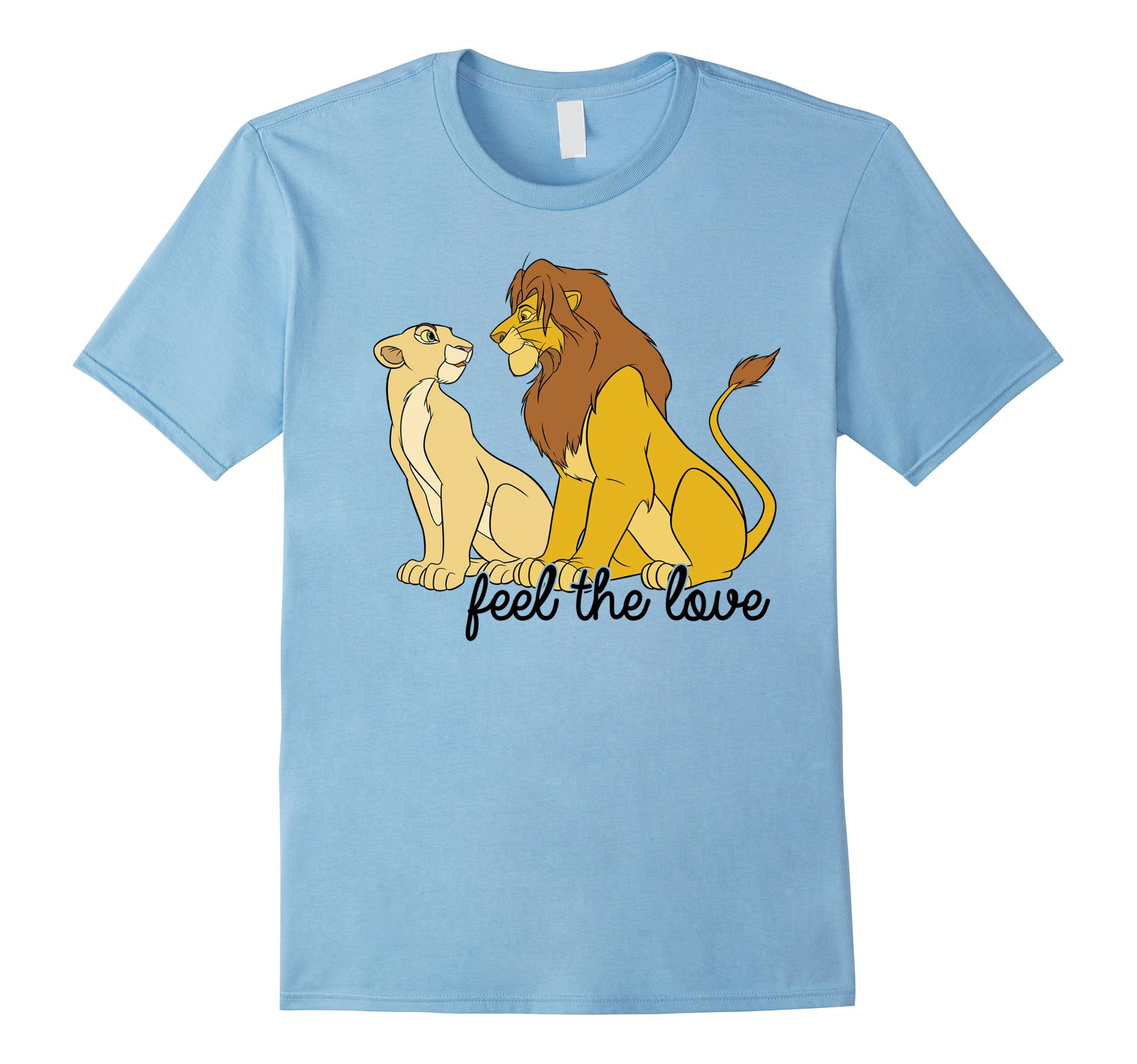 Mens Disney Lion King Simba Nala Feel The Love Graphic T-Shirt Large Baby Blue