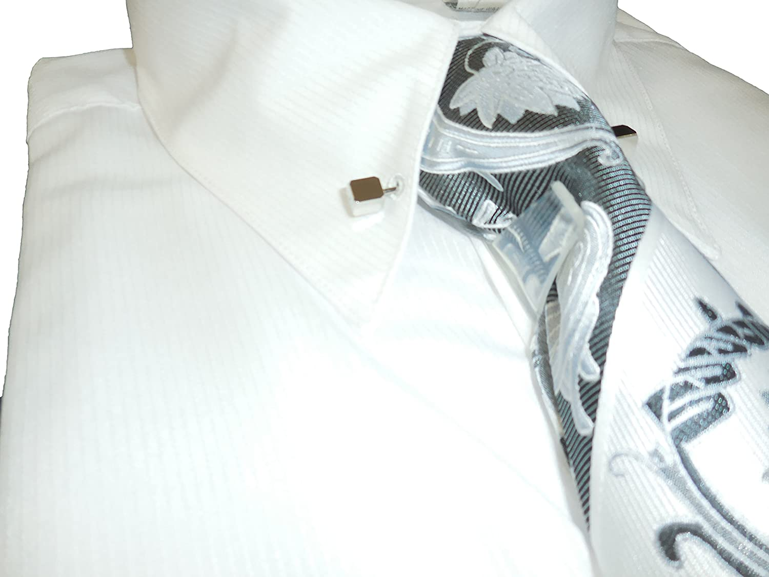 Tommy Hilfiger White French Cuff Dress Shirt With Collar Bar