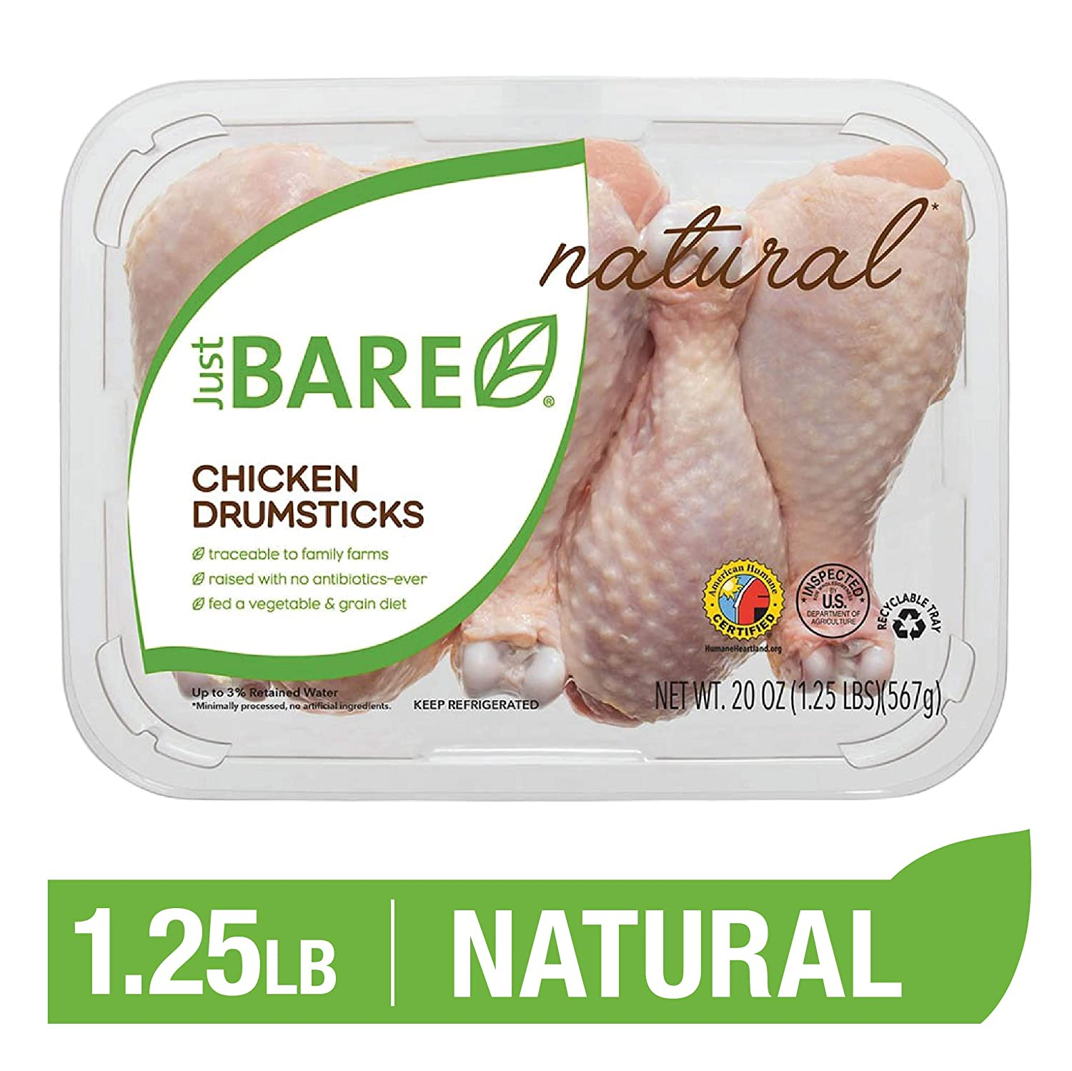 Just BARE Natural Fresh Chicken Drumsticks | Antibiotic Free | Bone-In | 1.25 LB