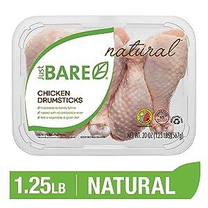 Just BARE Natural Fresh Chicken Drumsticks | Antibiotic Free | Bone-In | 1.25 LB