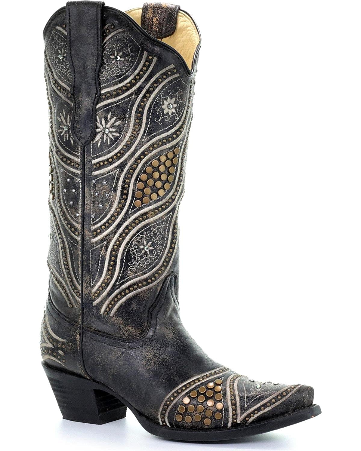 f1de44aa121 Amazon.com | CORRAL Women's Embroidered Studded Cowgirl Boot Snip ...