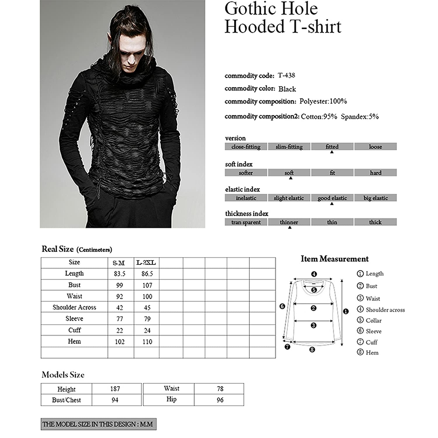 Punk Rave Men Black Gothic Vintage Hole Hooded Long Sleeve Punk Shirt Daily Casual Tops