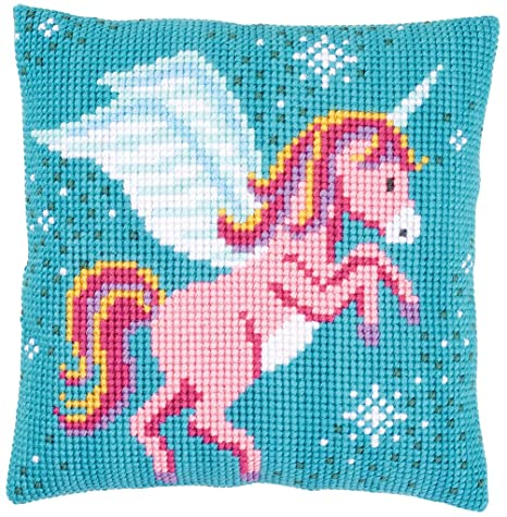 Amazon.com: Vervaco Unicorn Cross Stitch Needlepoint Pillow ...