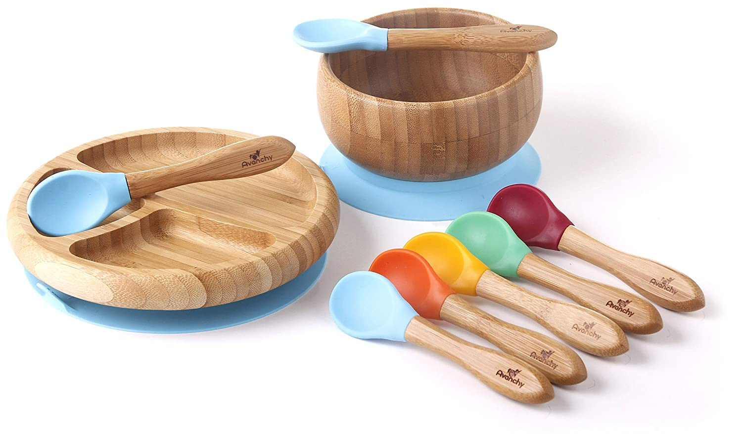 Avanchy Baby Feeding Bamboo Spill Proof Stay Put Suction Divided Plate + Baby Spoon - Great Baby Gift Set, Green 454521