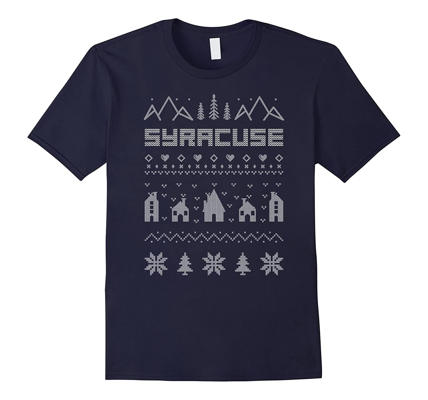 Syracuse New York Ugly Christmas Sweater T-shirt-ANZ