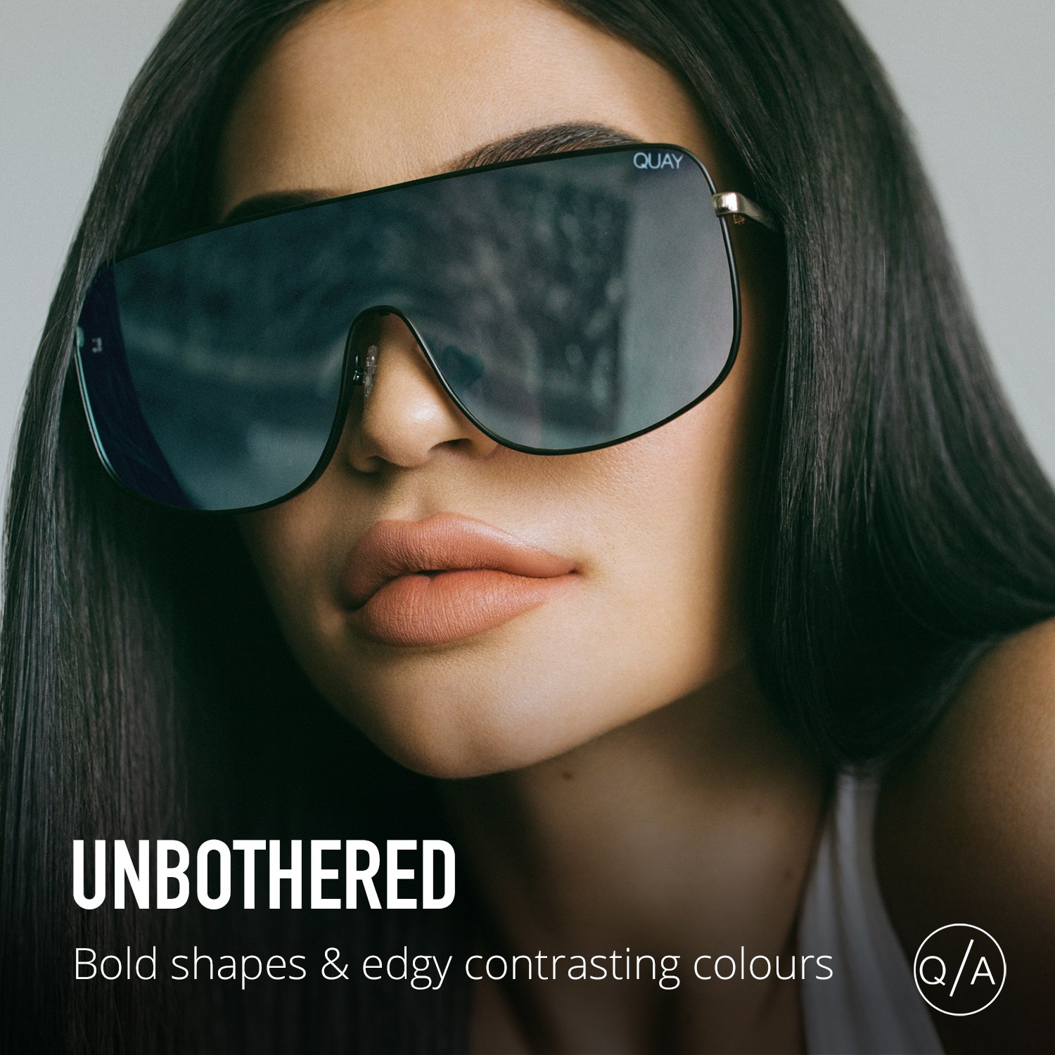 c67fc793fe Amazon.com  Quay Australia UNBOTHERED Women s Sunglasses Shield Sunnies -  Black Mint  Clothing
