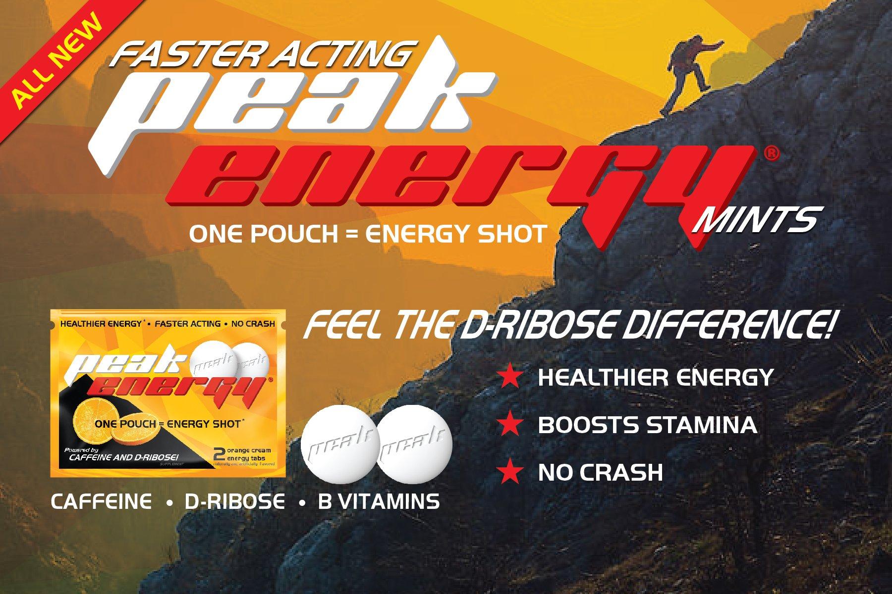 Caffeine and D-Ribose Energy Mints - 100mg Caffeine per mint - 24 Pouch Box - Orange Cream Flavor by Peak Energy (Image #5)