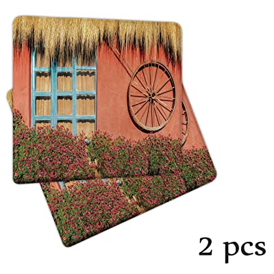 Atokker Barn Wood Wagon Wheel,Seat Cushion Rocking Chair Cushions and Pads Country House in Ecuador Red Wall Window Summer Flowers Straw Roof DChair Cushionrative Patio Chair Cushions 2 Pack: Kitchen & Dining
