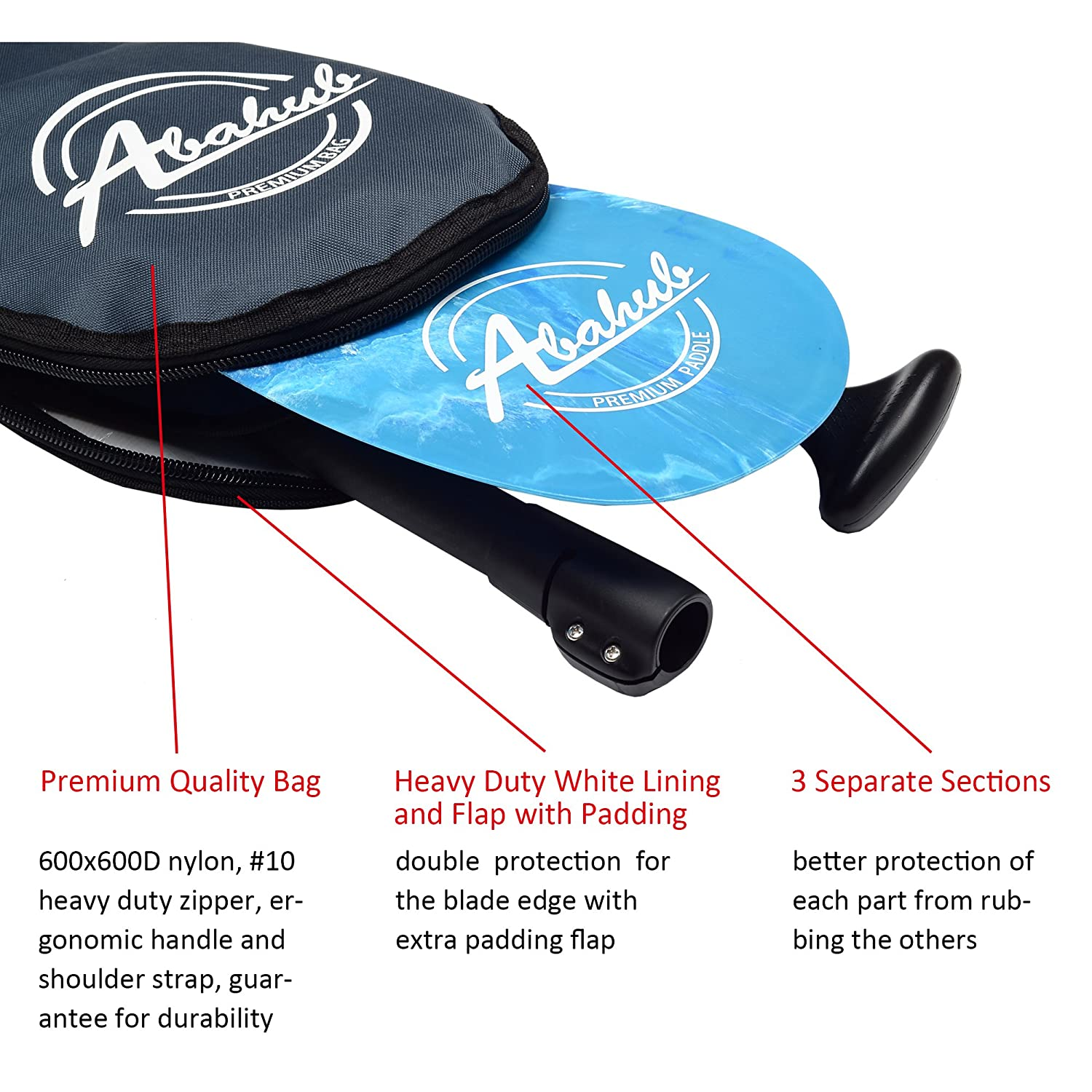 Carrying Bag for Stand Up Paddleboard ABAHUB 3-Piece Adjustable Carbon Fiber SUP Paddle Carbon Shaft