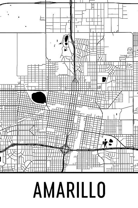 Map Of Texas Amarillo.Amazon Com Modern Map Art Amarillo Print Amarillo Art Amarillo