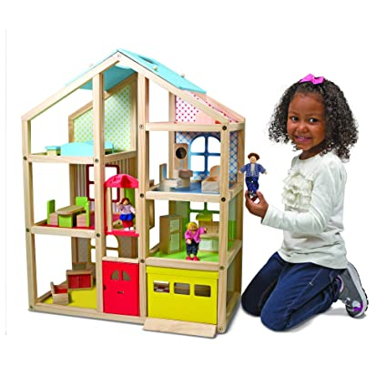 Melissa Doug Hi Rise Wooden Dollhouse And Furniture Set 112 Scale Dollhouse Open Sided Multi Color 18 Pieces 30 H 2375 W 13 L