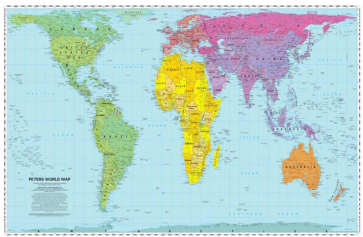 Peters World Map: Folded: Amazon.de: WorldView ...