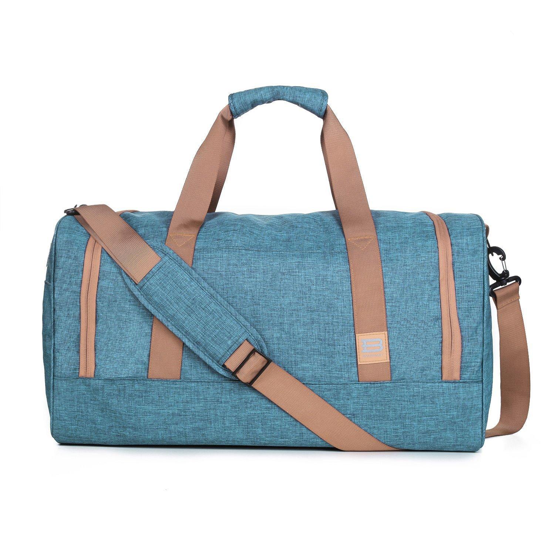 BAGSMART Travel Duffel Bag Large Foldable Weekend Shoulder Handbag Overnight Bag Gym Bag Carry-on with Shoe Bag 40L, Gray