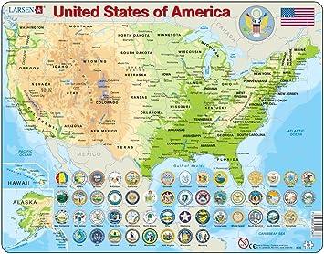 La Cartina Degli Stati Uniti D America.Larsen K36 Mappa Fisica Degli Stati Uniti D America Edizione Inglese Puzzle Incorniciato Con 90 Pezzi Amazon It Giochi E Giocattoli