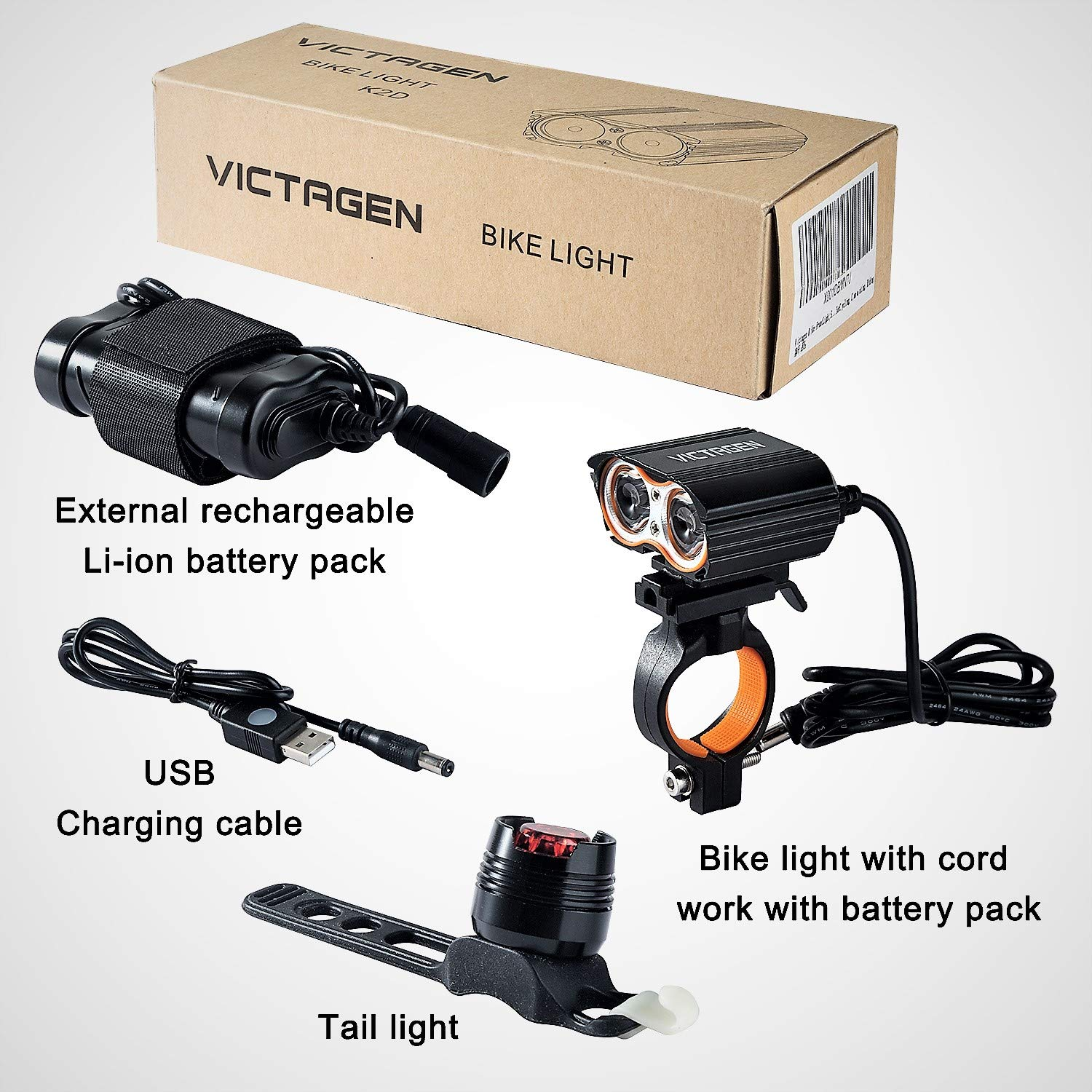 Victagen Bike Light,Bicycle Front & Tail Light,Super Bright 2400 Lumens,Rechargeable Bike Headlight Waterproof LED Front & Rear Light, Easy to Mount Fits Mountain Road Bike Kids Men Cycling Commuter by victagen