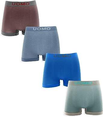 Channo Pack de Calzoncillos Boxer Lycra sin Costuras con Rayas horizontales
