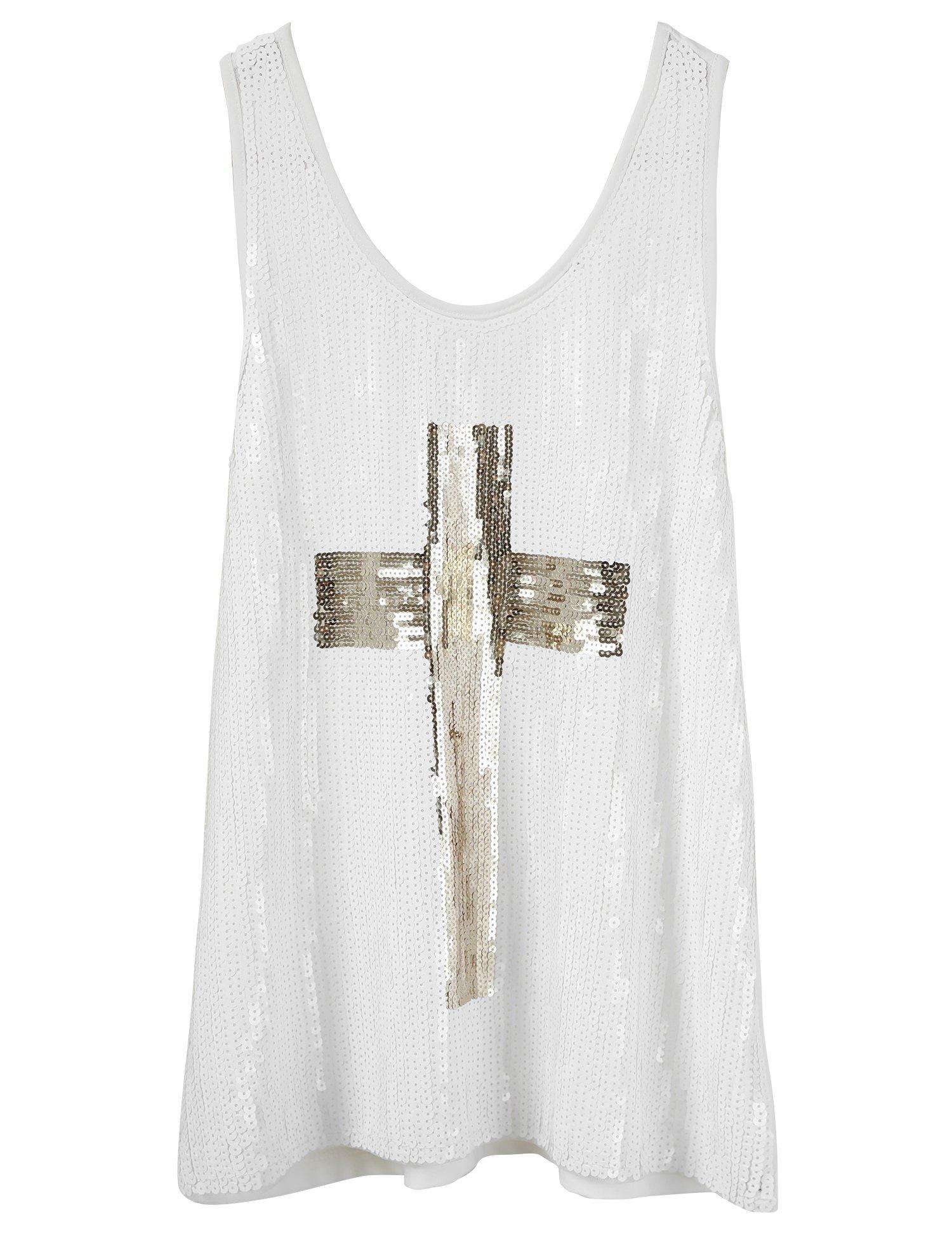Flapper Girl Glam Sequins Cross Tank Top Vest Nightclub Camisole Vest Shirt (L, White)