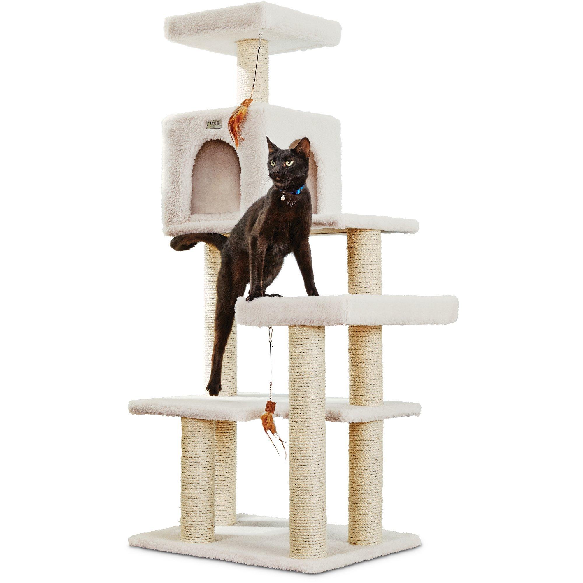 You & Me Scratch & Snooze Station Cat Tree, 19.7'' L X 28'' W X 55'' H