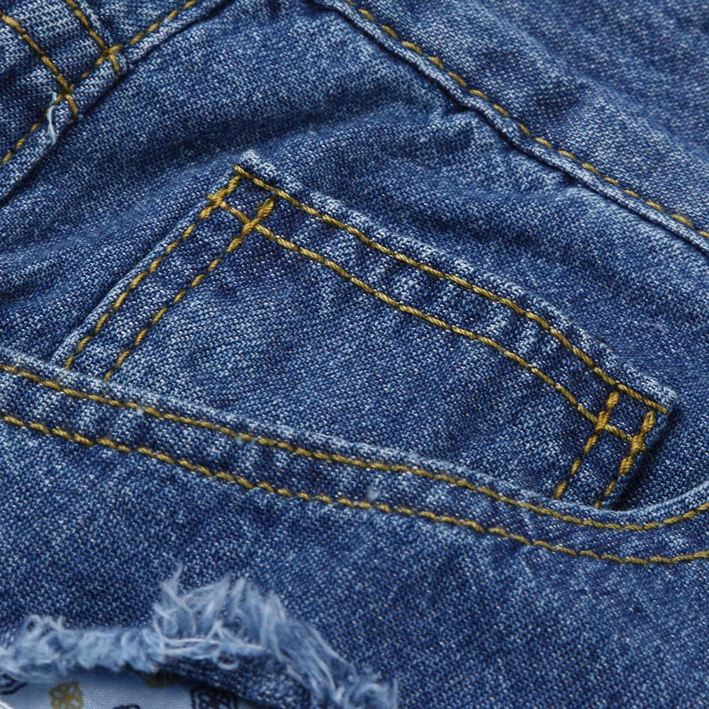 FTXJ Men Slim Biker Zipper Denim Jeans Skinny Frayed Pants Distressed Rip Trousers