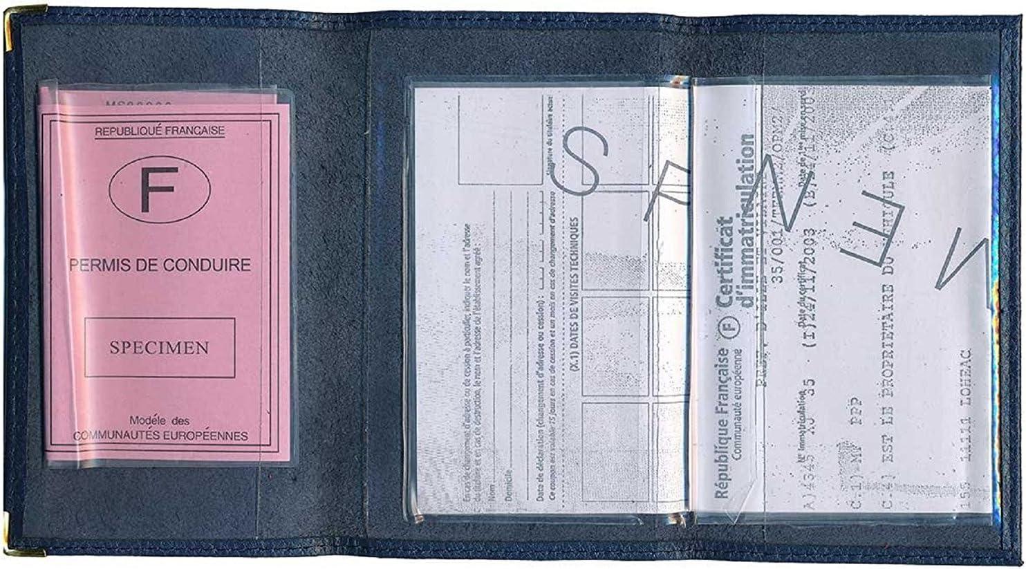 Etui carte grise noir en cuir papiers de voiture permis singe  à personnalise