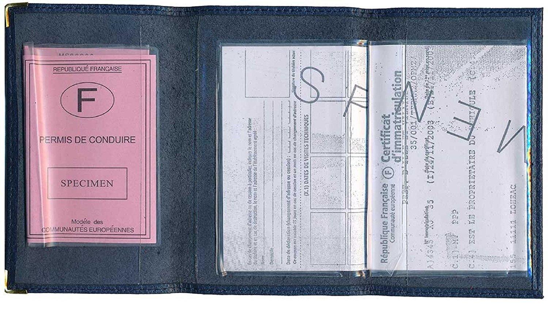 Sylla Athelte Porte Carte Grise et Papier Voiture en Cuir pour Femme ou Homme