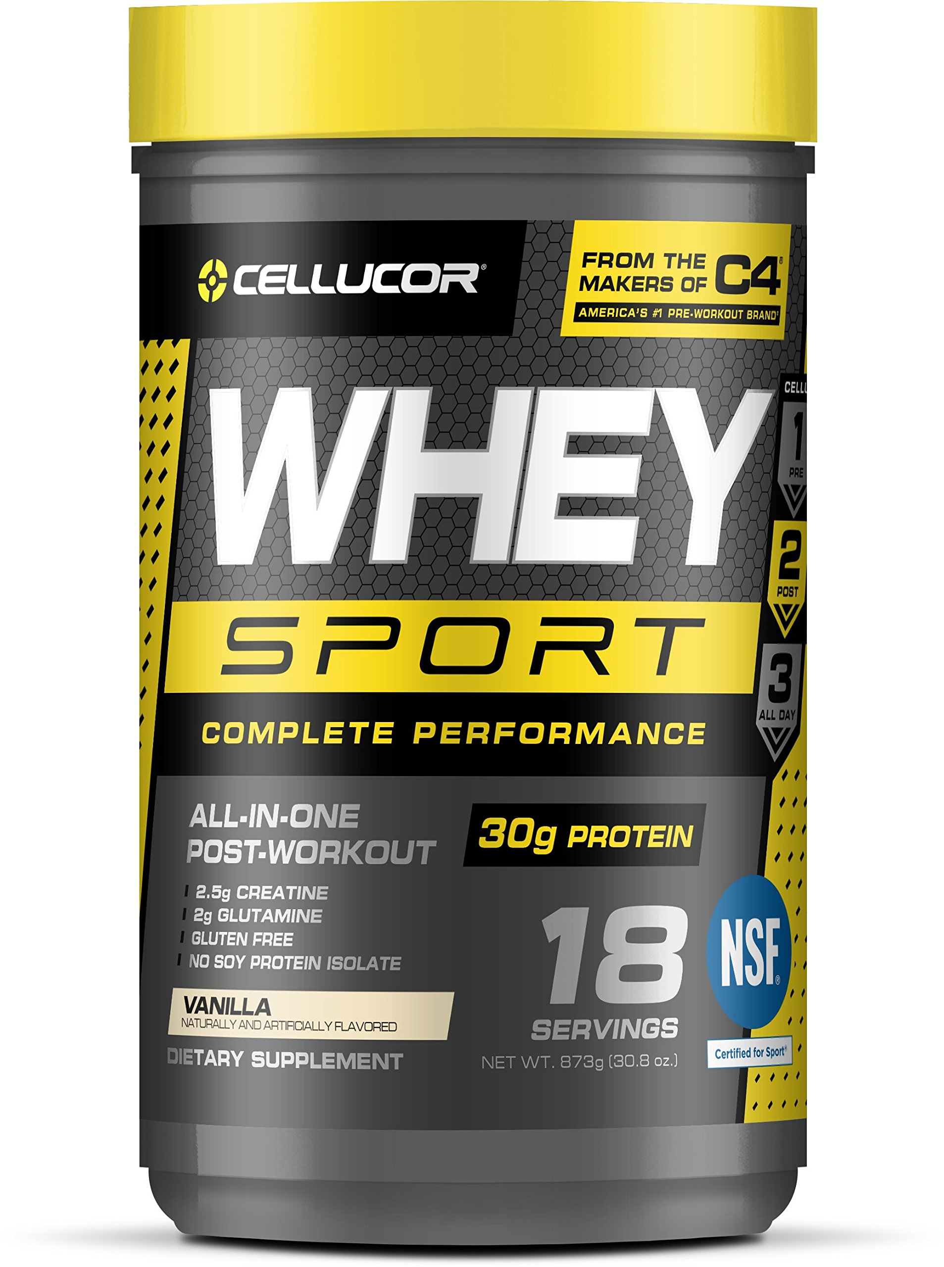 Cellucor Whey Sport Protein Powder, Post Workout Recovery Drink with Whey Portein Isolate, Creatine & Glutamine, Vanilla, 18 Servings