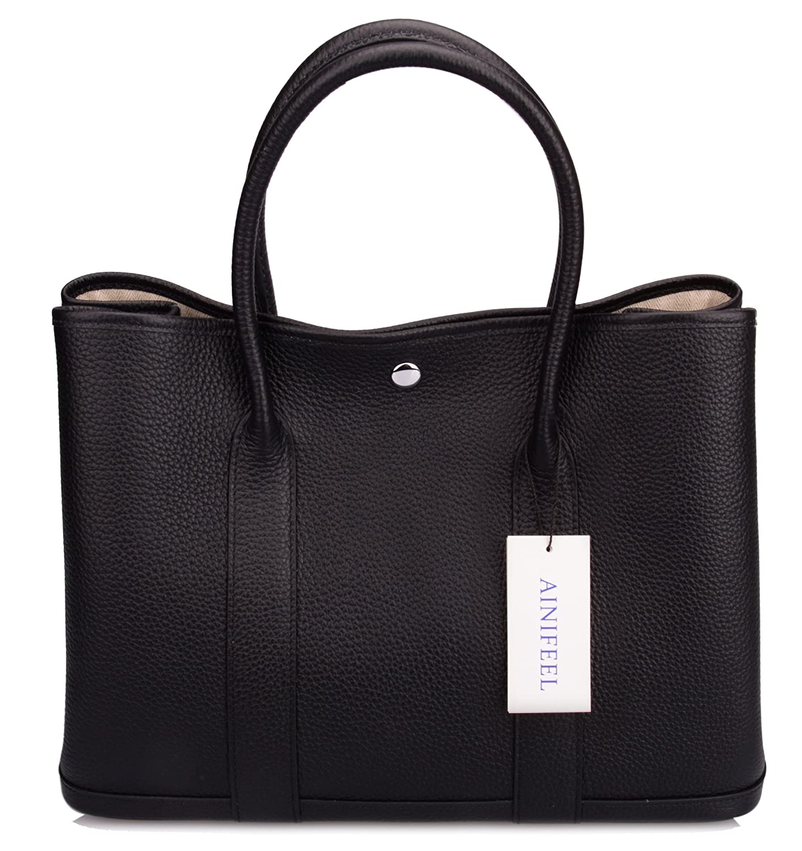 b5b52407a9 Ainifeel Women s Genuine Leather Top Handle Handbag Shopping Bag Tote Bag  (Black)  Handbags  Amazon.com