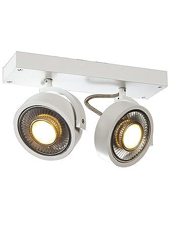 slv kalu  SLV Kalu - Lampada da soffitto, Alluminio, bianco opaco, 2 Strahler ...