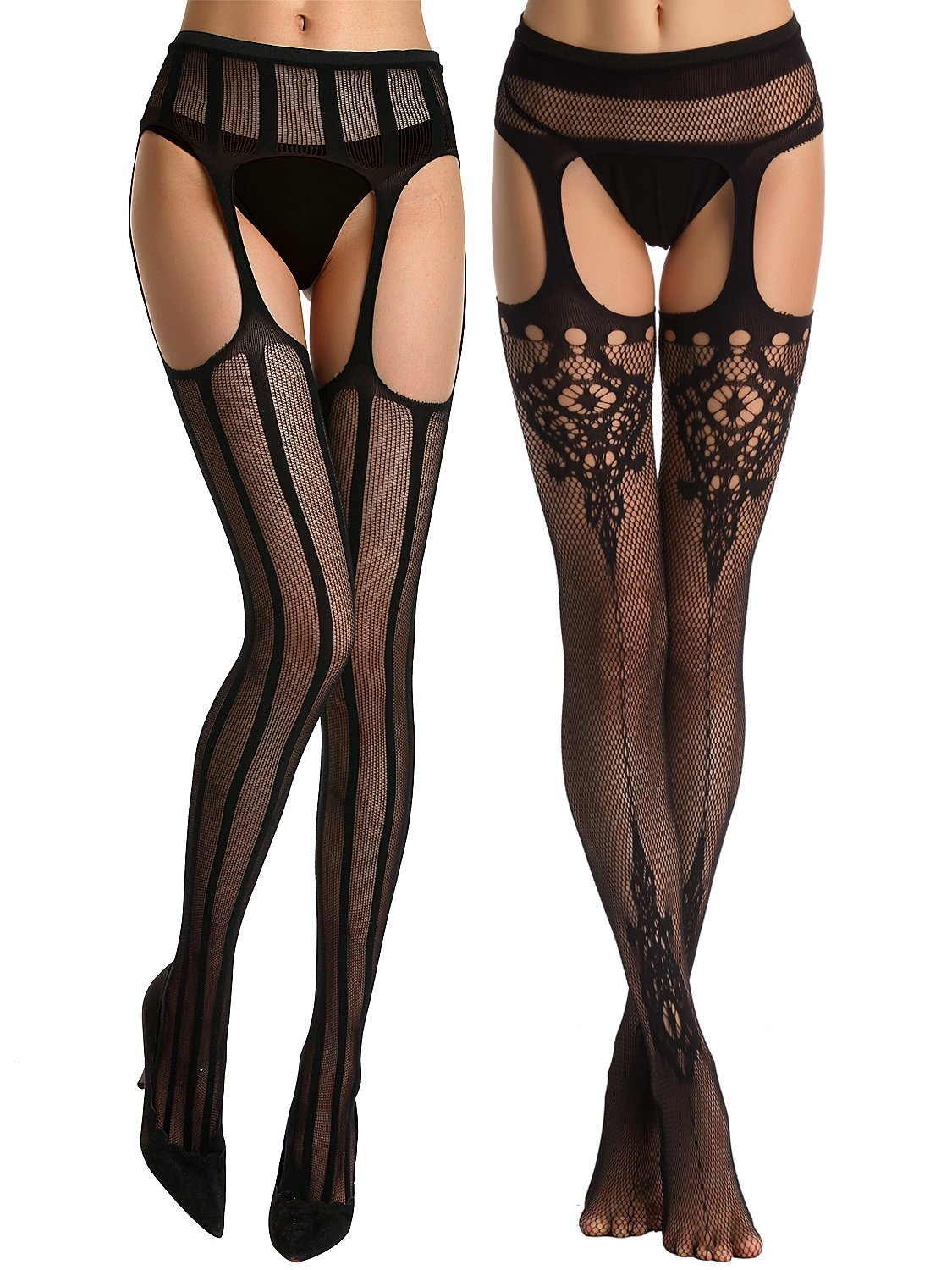 Florboom Womens Sexy Fishnet Floral Striped Pantyhose Suspender Tights 2 Pack