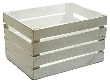 Caja madera blanca decapada vintage, ideal para decoración,escaparates. Medida 50x30x25 1,5 grosor: Amazon.es: Hogar