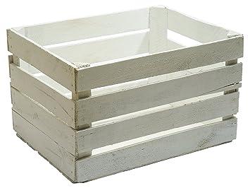 caja de madera tipo fruta blanco vintage