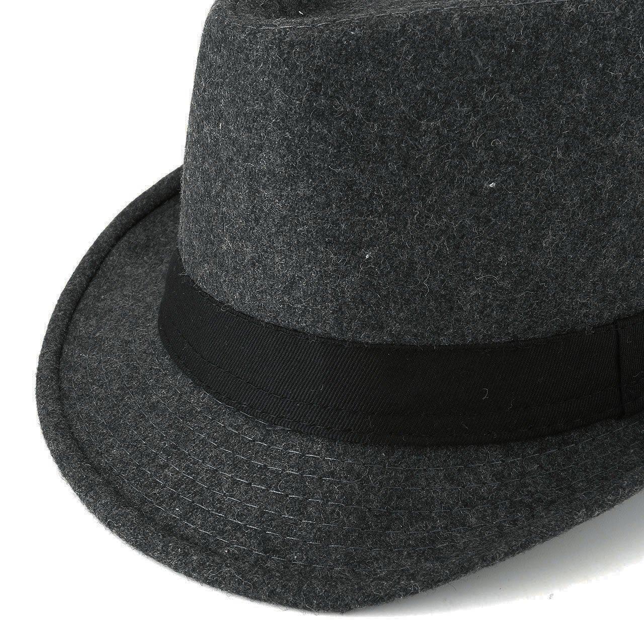 Unisex Classic Manhattan Fedora Hat Black Band Fashion Casual Jazz Wool Cap (Grey) by Faleto (Image #5)