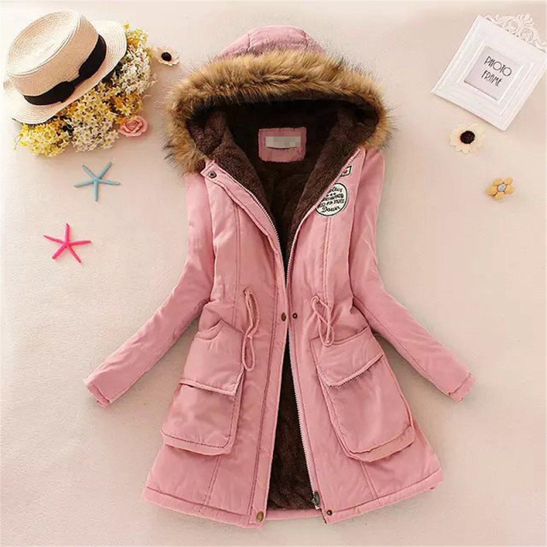 Amazon.com: YouzhiWan007 New Women Winter Thicken Warm Coat Female Autumn Hooded Cotton Fur Plus Size Basic Jacket Outerwear Slim Long Ladies Black XXL: ...