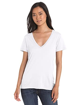 Splendid Damen, T-Shirt, Very Light Jersey SL V-Neck, Weiß