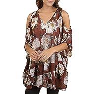 3357d10048d49 Autumn Plus Size Women Chiffon Cold Shoulder V-neck Half Sleeve