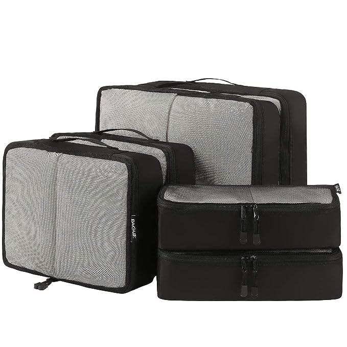 Bagail 6 Set Packing Cubes,3 Various Sizes Travel Luggage Packing Organizers(Black Net)