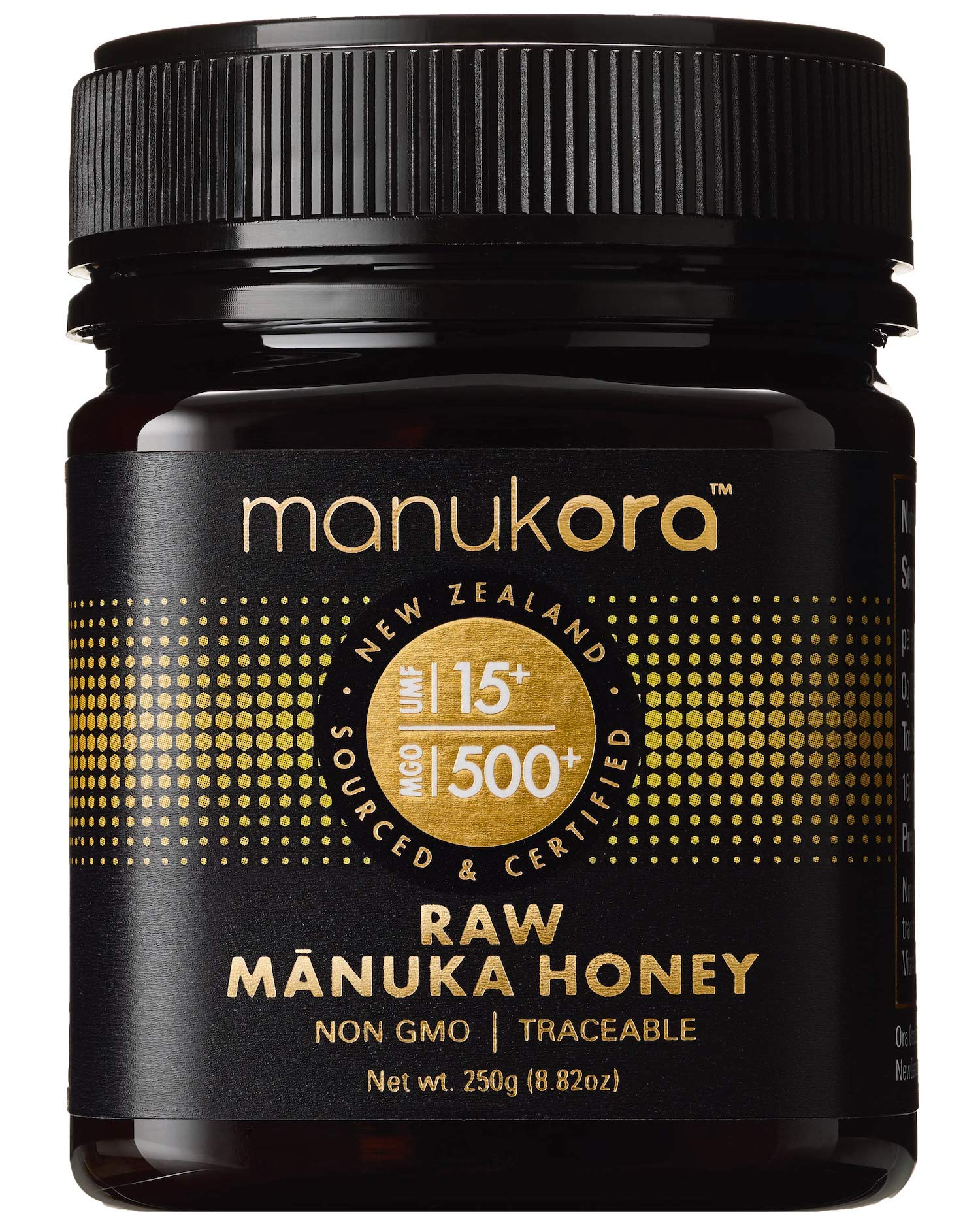 Manukora UMF 15+/MGO 500+ Raw Mānuka Honey (250g/8.8oz) Authentic Non-GMO New Zealand Honey, UMF & MGO Certified, Traceable from Hive to Hand by Manukora (Image #1)