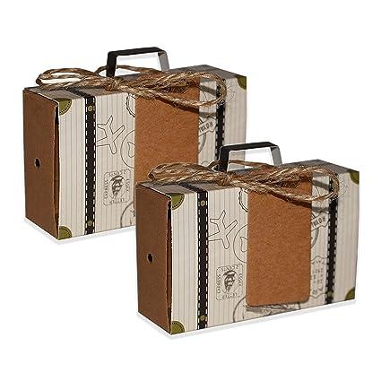 Cajas para Dulces Mini Maletas Viaje - Regalos de Caramelos Invitados (50 Piezas) con