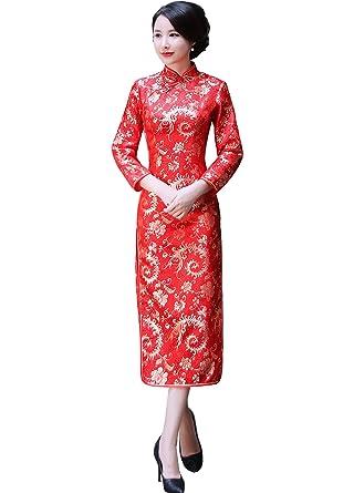 a0e88b17bf0e5 (上海物語)Shanghai Story ロング丈 チャイナドレス 女性 チャイナ服 民族衣装 長袖